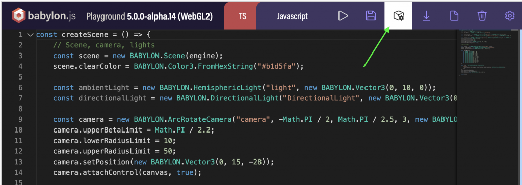 Open the Babylon JS Inspector on a Playground