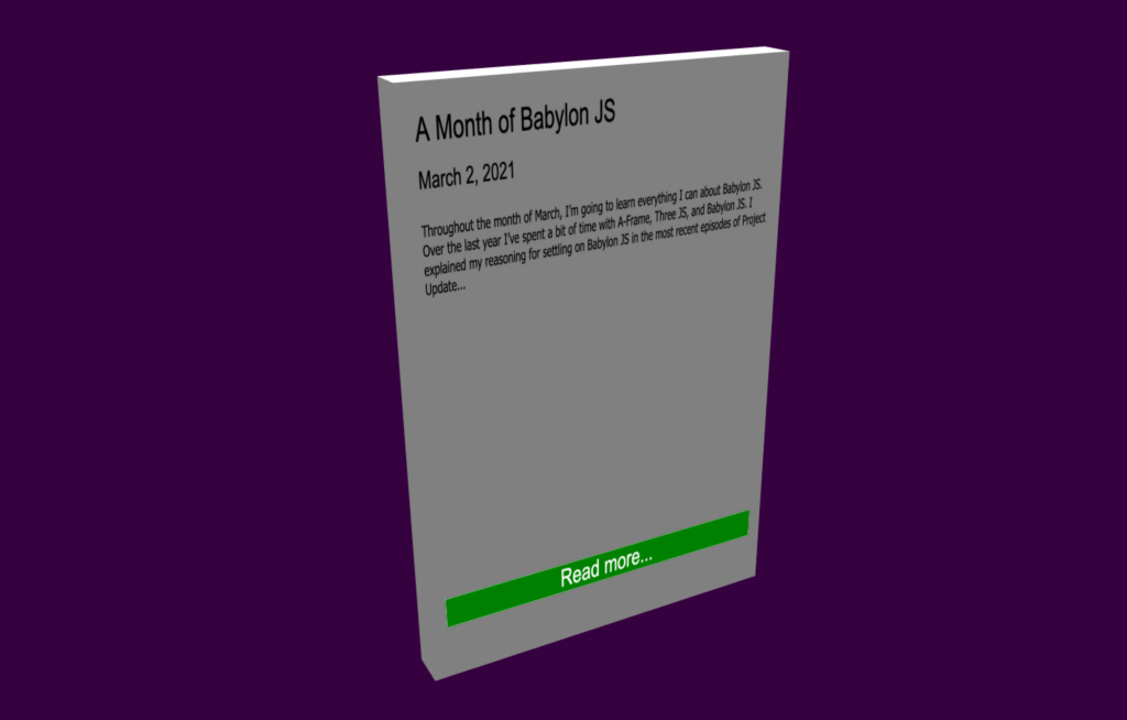 The card, as it stands on March 16, 2021